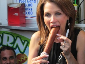 Michele Bachmann Wins Sausage Swallowing Contest